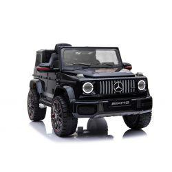 Voiture électrique Mercedes G neuve, noire, avec licence d'origine, porte à batterie, ouverture par des portes, monoplace, 2x moteur, batterie 12 V, télécommande de 2,4 Ghz, suspension arrière, démarrage en douceur