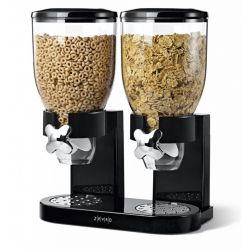 Zevro Double Classic Dry Food Canister with Dispenser, Black