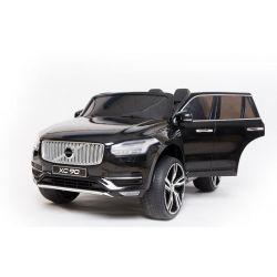 Électrique Volvo XC90, noir, double siège en cuir, lecteur MP3 avec entrée Bluetooth et USB, portes et capot ouvrants, batterie 12V10Ah, roues EVA, essieux suspendus, télécommande 2,4 GHz, sous licence