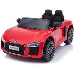 Voiture électrique Audi R8 Small, rouge, sous licence d'origine, alimenté par batterie, portes ouvrantes, moteur 2x 35 W, batterie 12 V, télécommande 2,4 GHz, roues EVA douces, suspension, démarrage en douceur
