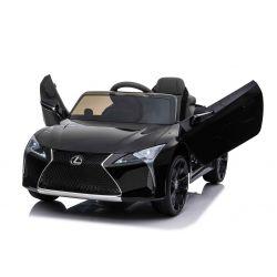 Voiture électrique Lexus LC500, noire, sous licence d'origine, alimenté par batterie 12 V, portes à ouverture verticale, moteur 2x, télécommande 2,4 Ghz, suspension, démarrage en douceur