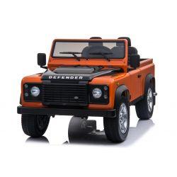Véhicule électrique électrique Land Rover Defender, avec licence, Radio avec entrée USB / TF, Télécommande 2.4Ghz, Batterie 2 x 12V / 7AH, 4 X MOTOR, Double siège en cuir, Roues en EVA, Orange