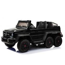 Voiture électrique Mercedes-Benz G63 6X6, LCD Écran, Lumières de roue & Feux de fond, 2.4Ghz, 12V14AH, Boîte à piles amovible, 4 X MOTEUR, Télécommande, Double siège en cuir, Roues Gencive, Radio FM, Servomoteur, Deux Pédales, Peint en Noir