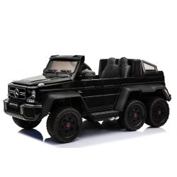 Voiture-jouet électrique Mercedes-Benz G63 6X6, Lecteur MP3, Éclairage de roue et éclairage inférieur, 2.4Ghz, 12V14AH, Boîtier de batterie amovible, 4 X MOTEUR, Télécommande, Double siège en cuir, Roues GUM, Radio FM, Servomoteur, Deux pédale, noir