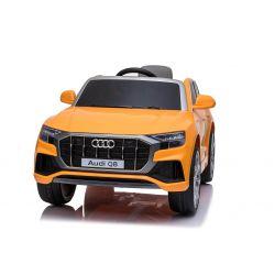 Voiture électrique Audi Q8, orange, sous licence d'origine, siège en cuir, portes ouvrantes, moteur 2 x 25 W, batterie 12 V, télécommande 2,4 GHz, roues EVA douces, lumières LED, démarrage progressif, licence ORIGINALE