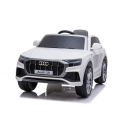 Voiture électrique Audi Q8, blanc, sous licence d'origine, siège en cuir, portes ouvrantes, moteur 2 x 25 W, batterie 12 V, télécommande 2,4 Ghz, roues EVA douces, lumières LED, démarrage progressif, licence ORIGINALE
