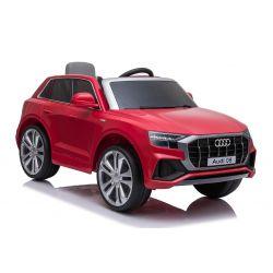 Voiture électrique Audi Q8, rouge, sous licence d'origine, siège en cuir, portes ouvrantes, moteur 2 x 25 W, batterie 12 V, télécommande 2,4 GHz, roues EVA douces, lumières LED, démarrage progressif, licence ORIGINALE