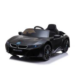 Voiture électrique BMW i8, noire, avec licence d'origine, siège en cuir, portes ouvrantes, moteur 2 x 25 W, batterie 12 V, télécommande 2,4 GHz, roues EVA douces, suspension, démarrage en douceur