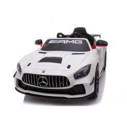 Voiture électrique Mercedes-Benz GT4, Blanc, Licence d'origine, À batterie, Ouverture ouvrante, 2x Moteur, Batterie 12 V, Télécommande de 2,4 Ghz, Roues EVA souples, Démarrage en douceur