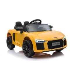 Voiture électrique Audi R8 Small, jaune, sous licence d'origine, alimentée par batterie, portes ouvrantes, moteur 2x 35 W, batterie 12 V, télécommande 2,4 GHz, roues EVA douces, suspension, démarrage en douceur