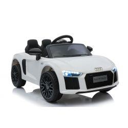 Voiture électrique Audi R8 Small, blanc, sous licence d'origine, alimenté par batterie, portes ouvrantes, moteur 2x 35 W, batterie 12 V, télécommande 2,4 GHz, roues EVA douces, suspension, démarrage en douceur