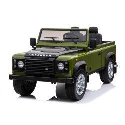 Véhicule électrique miniature Land Rover Defender, avec licence, Radio avec entrée USB / TF, Télécommande 2.4Ghz, Batterie 2 x 12V / 7AH, 4 X MOTOR, Double siège en cuir, Roues en EVA, Vert