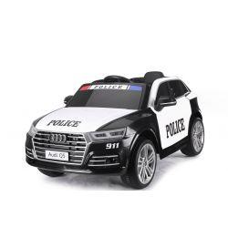 Conduite électrique en voiture de police Audi Q5, DO 2,4 GHz, MOTEUR 2 X 40 W, Noir, USB, Carte SD, Siège en cuir, Eva Wheels, Démarrage en douceur, Licence ORIGINAL