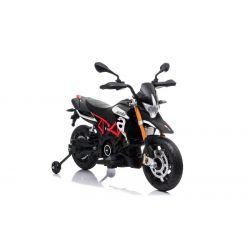 Moto électrique APRILIA DORSODURO 900, avec licence, batterie 12V, roues souples EVA, moteurs 2 x 18W, suspension, cadre en métal, fourche en métal, roues auxiliaires, noir