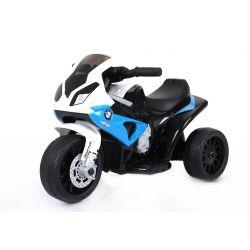 BMW S 1000 RR Tricycle électrique pour enfants, Moto à piles, 3 roues, sous licence, 1x moteur, batterie 6V, Bleu
