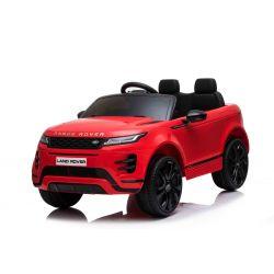 Porteur électrique Range Rover EVOQUE, rouge, double siège en cuir, lecteur MP3 avec entrée USB, lecteur 4x4, batterie 12V10Ah, roues EVA, axes de suspension, démarrage à clé, télécommande Bluetooth 2,4 GHz, sous licence