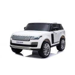 Range Rover électrique pour voiture miniature, blanc, double siège en cuir, écran LCD avec entrée USB, entraînement 4x4, 2x batterie 12V7Ah, roues EVA, essieux de suspension, démarrage à clé, télécommande Bluetooth à 2,4 GHz