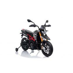 Moto électrique APRILIA DORSODURO 900, avec licence, batterie 12V, roues souples EVA, moteurs 2 x 18W, suspension, cadre en métal, fourche en métal, roues auxiliaires, gris