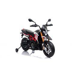 Moto électrique APRILIA DORSODURO 900, avec licence, batterie 12V, roues souples EVA, moteurs 2 x 18W, suspension, cadre en métal, fourche en métal, roues auxiliaires, rouge