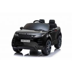 Porteur électrique Range Rover EVOQUE, noir, double siège en cuir, lecteur MP3 avec entrée USB, lecteur 4x4, batterie 12V10Ah, roues EVA, axes de suspension, démarrage à clé, télécommande Bluetooth 2,4 GHz, sous licence