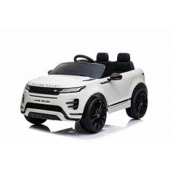 Porteur électrique Range Rover EVOQUE, blanc, double siège en cuir, lecteur MP3 avec entrée USB, lecteur 4x4, batterie 12V10Ah, roues EVA, essieux suspendus, démarrage à clé, télécommande Bluetooth 2,4 GHz, sous licence