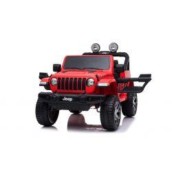 JEEP Wrangler, rouge, Double siège en cuir, Radio avec entrée Bluetooth et USB, Transmission 4x4, Batterie 12V10Ah, Roues EVA, Essieux de suspension, Télécommande 2,4 GHz, Licence