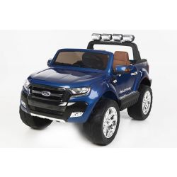 Electric Ride-On Toy Car Ford Ranger Wildtrak 4X4 LCD Luxury, LCD screen, Painted 2.4Ghz, 2x12V, 4 X MOTOR, remote control, two-seats in leather, Soft EVA wheels, FM Radio, Bluetooth, Blue