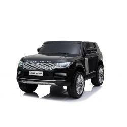 Range Rover électrique pour voiture miniature, Noir, Double siège en cuir, Écran LCD avec entrée USB, 4x4 lecteurs, 2x Batterie 12V7Ah, Roues EVA, Essieux de suspension, Démarrage à clé, Télécommande Bluetooth 2,4 GHz