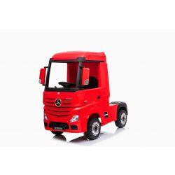 Véhicule électrique Mercedes-Benz Actros, rouge, siège en cuir, lecteur MP3 avec entrée USB, transmission 4x4, 2x batterie 12V7Ah, roues EVA, essieux de suspension, télécommande à 2,4 GHz, avec licence