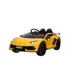 Voiture électrique Lamborghini Aventador, Jaune, Licence d'origine, Alimentation par batterie, Portes à ouverture verticale, 2x Moteur, Batterie 12 V, Télécommande de 2,4 Ghz, Roues EVA souples, Suspension, Démarrage en douceur