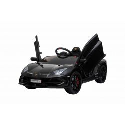 Voiture électrique Lamborghini Aventador, Noir, Licence d'origine, Alimentation par batterie, Portes à ouverture verticale, 2x Moteur, Batterie 12 V, Télécommande de 2,4 Ghz, Roues EVA souples, Suspension, Démarrage en douceur