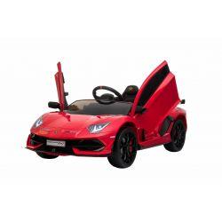 Voiture électrique Lamborghini Aventador, Rouge, Licence d'origine, Alimentation par batterie, Portes à ouverture verticale, 2x Moteur, Batterie 12 V, Télécommande de 2,4 Ghz, Roues EVA souples, Suspension, Démarrage en douceur