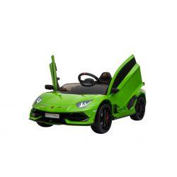 Voiture électrique Lamborghini Aventador, Vert, Licence d'origine, Alimentation par batterie, Portes à ouverture verticale, 2x Moteur, Batterie 12 V, Télécommande de 2,4 Ghz, Roues EVA souples, Suspension, Démarrage en douceur