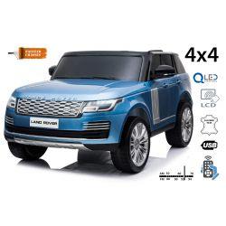 Range Rover électrique peinte en bleu, double siège en cuir, écran LCD avec entrée USB, lecteur 4x4, 2x batterie 12V7Ah, roues EVA, essieux de suspension, démarrage à clé, télécommande Bluetooth à 2,4 GHz