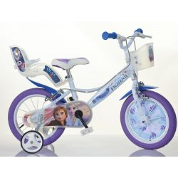 "DINO Bikes - Kids bike 16 ""Dino 164RF3 with seat and basket doll - Frozen 2"