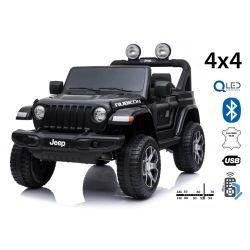 JEEP Wrangler, noir, Double siège en cuir, Radio avec entrée Bluetooth et USB, Transmission 4x4, Batterie 12V10Ah, Roues EVA, Essieux de suspension, Télécommande 2,4 GHz, Licence