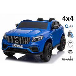 Mercedes-AMG GLC, Bleu, Double siège en cuir, FM radio avec entrée USB, Lecteur 4x4, 2x Batterie 12V7Ah, Roues EVA, Essieux de suspension, Télécommande 2,4 GHz, Licence