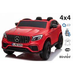 Mercedes-AMG GLC, rouge, Double siège en cuir, FM radio avec entrée USB, Lecteur 4x4, 2x Batterie 12V7Ah, Roues EVA, Essieux de suspension, Télécommande 2,4 GHz, Licence