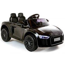 Voiture électrique Audi R8 Small, noire, sous licence d'origine, alimentée par batterie, portes ouvrantes, moteur 2x 35 W, batterie 12 V, télécommande 2,4 GHz, roues EVA douces, suspension, démarrage en douceur