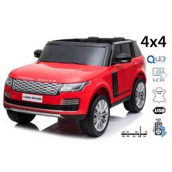 Range Rover électrique, rouge, double siège en cuir, écran LCD avec entrée USB, 4x4 lecteurs, 2x batterie 12V7Ah, roues EVA, essieux de suspension, démarrage à clé, télécommande Bluetooth à 2,4 GHz