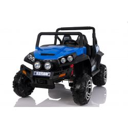 Electric Ride-On Toy Car RSX Blue - 2.4Ghz, 24V, 4 X MOTOR, remote control, two-seats in leather, Soft EVA wheels, FM Radio, Bluetooth